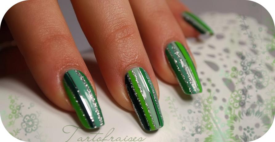 modele unghii cu gel si oja verde