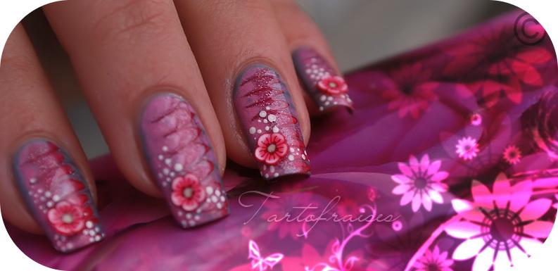 model floral unghii gel