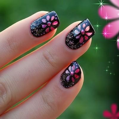 Unghii negre cu flori