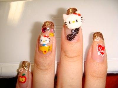 Idei pentru arta unghiilor Hello Kitty