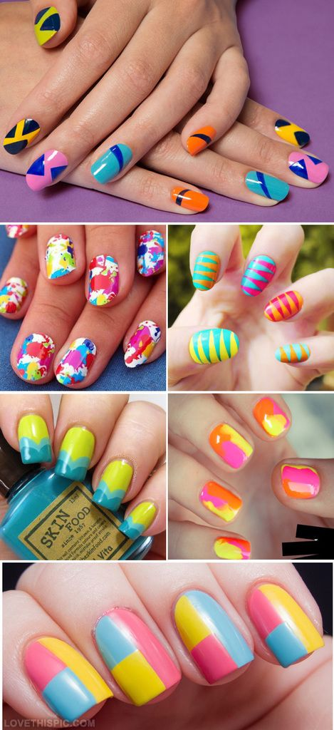 Modele de unghii multicolore pentru vara