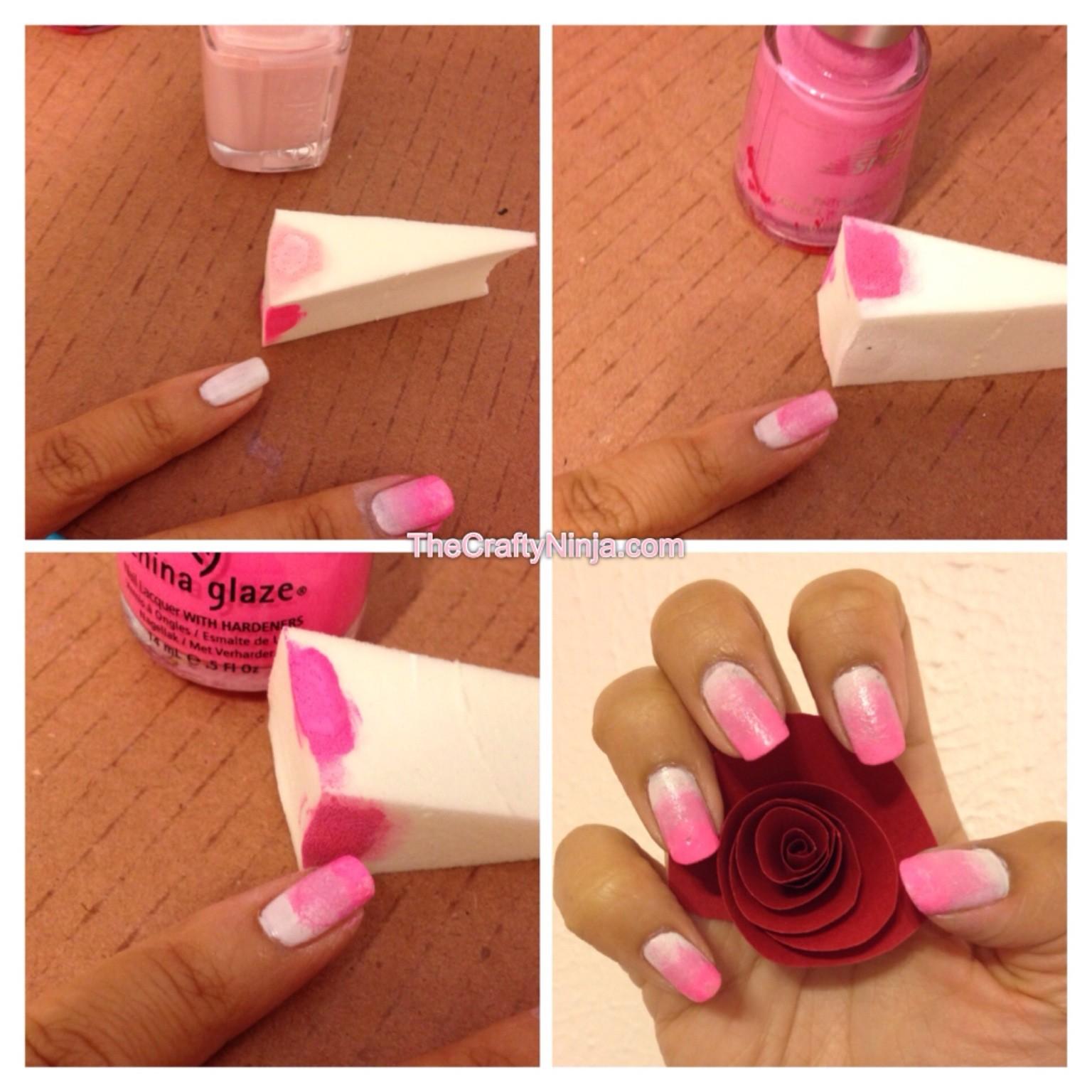Model unghii ombre roz