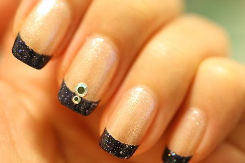 Modele unghii gri cu sclipici