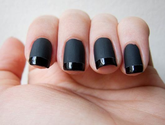 modele unghii cu gel french negru