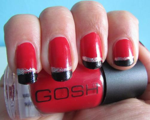 Modele unghii french cu gel rosii cu negru