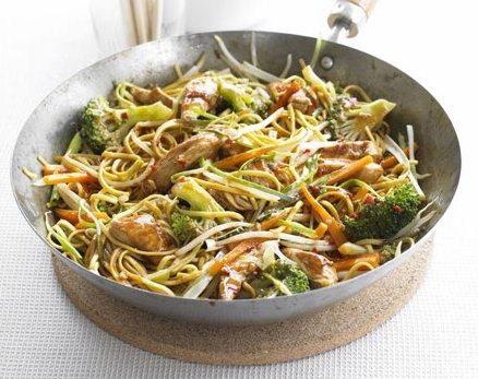 Carne de pui cu taitei si broccoli