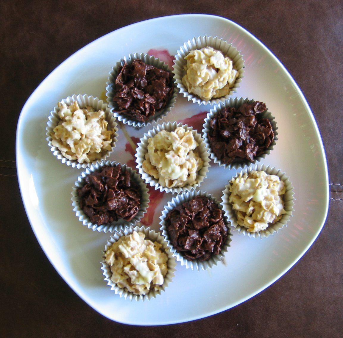 Bilute din fulgi de porumb invelite in ciocolata