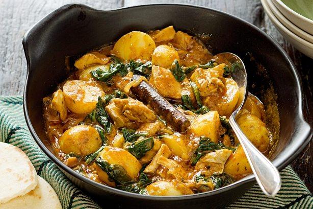 Curry de carne de pui cu spanac
