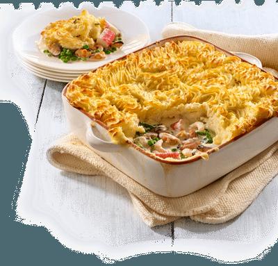 Placinta cu peste si crusta de cartofi