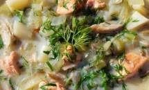 Supa de macrou afumat si cartofi