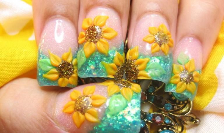 Modele de unghii floarea soarelui