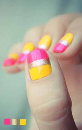 Modele de unghii roz cu galben
