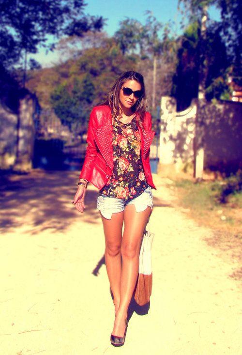 jachete din piele rosie pentru vara