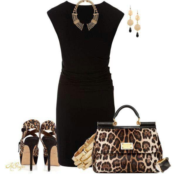 tinuta animal print cu rochie neagra