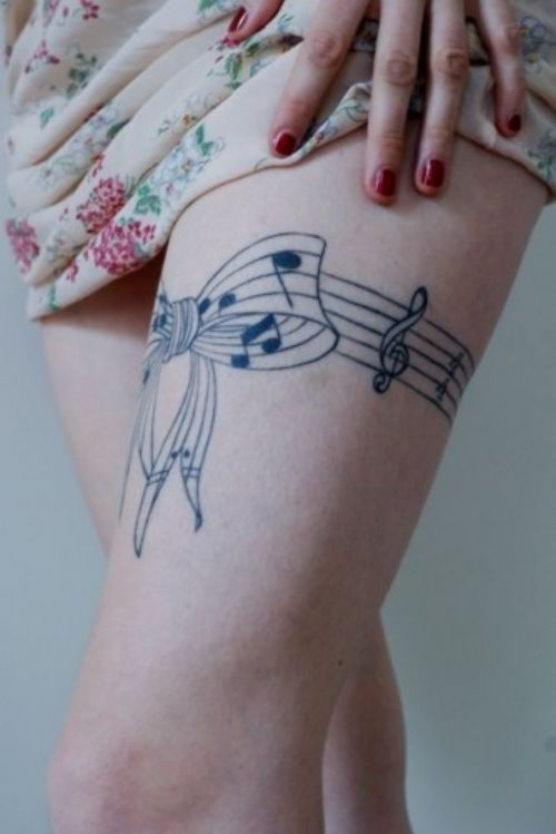 tatuaj cu Portativ si note muzicale
