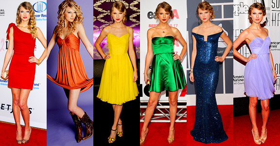 Taylor Swift in rochii colorate