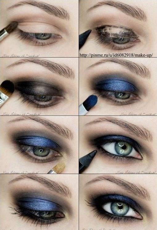 Machiaj de seară pentru ochi căprui cu albastru inchis