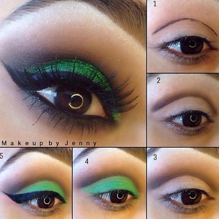 Machiaj de seară pentru ochi căprui cu verde