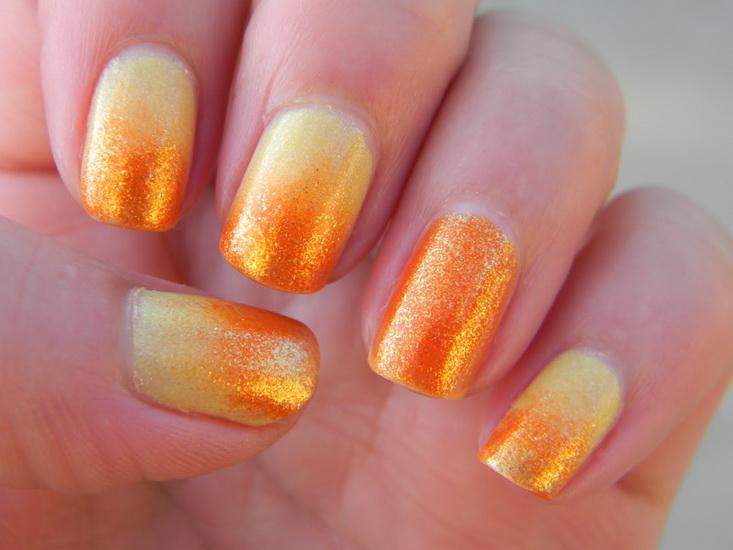 unghii ombre portocalii