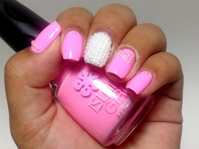 manichiura usor de facut roz