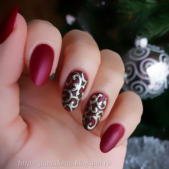 Modele de unghii Marsala