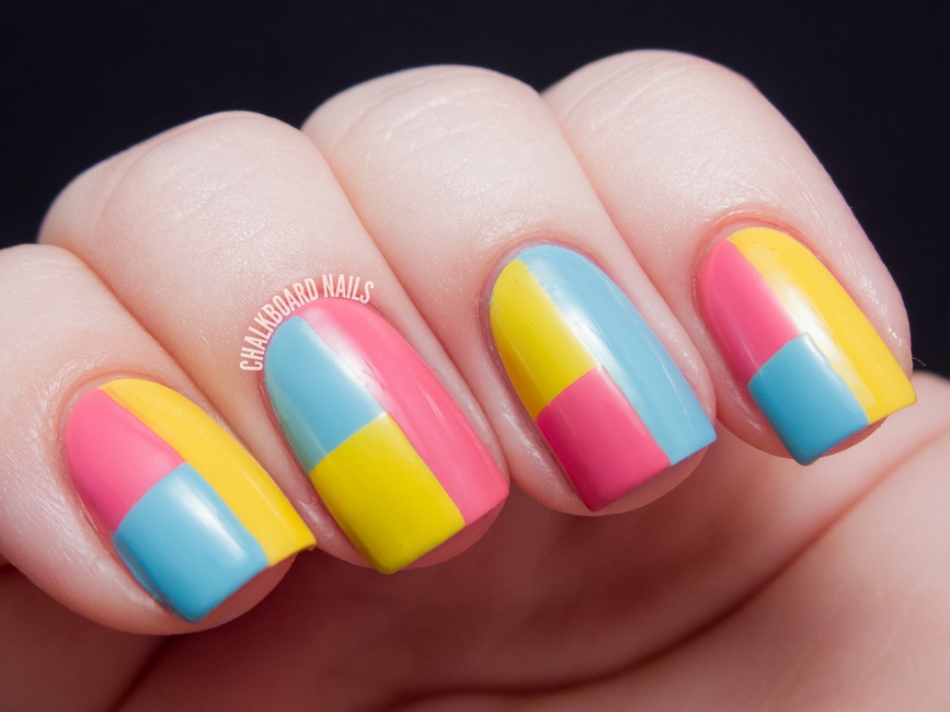 unghii simple colorate