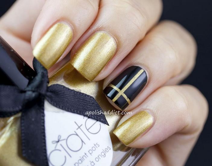 manichiura auriu si negru 2016