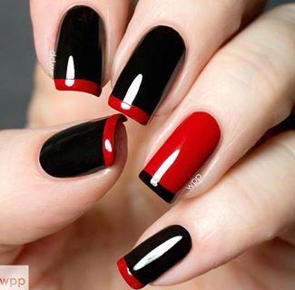 unghii in trend rosu cu negru