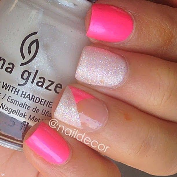 unghii roz cu sclipici