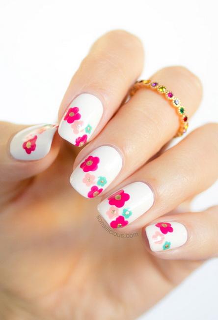 unghii pentru mirese cu flori