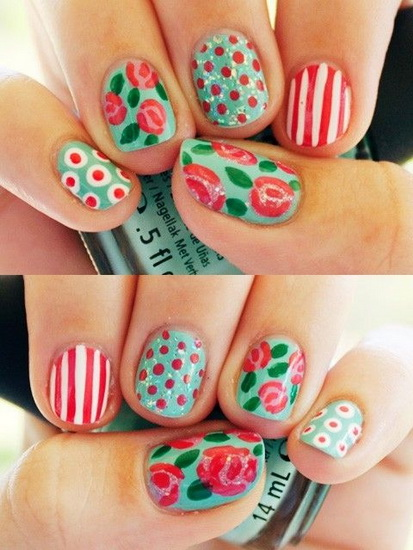 unghii cu flori pentru Pasti