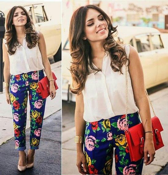 Pantaloni florali