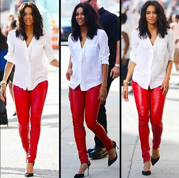 pantaloni din piele rosie dama