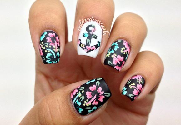 model unghii cu flori 2016