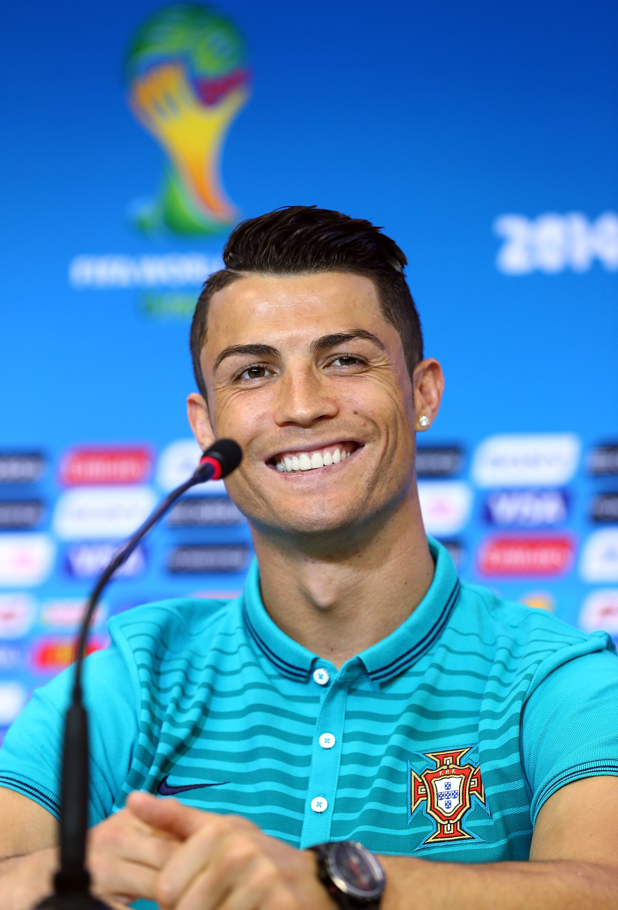 SALVADOR, BRAZIL - JUNE 15: Cristiano Ronaldo talks to the media during the Portugal press conference ahead of the 2014 FIFA World Cup Group G match between Germany and Portugal held at the Arena Fonte Novaon June 15, 2014 in Salvador, Brazil. (Photo by Martin Rose/Getty Images)