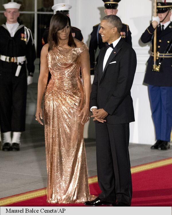 Michelle Obama, apariție de senzație la ultimul dineu de stat de la Casa Albă!
