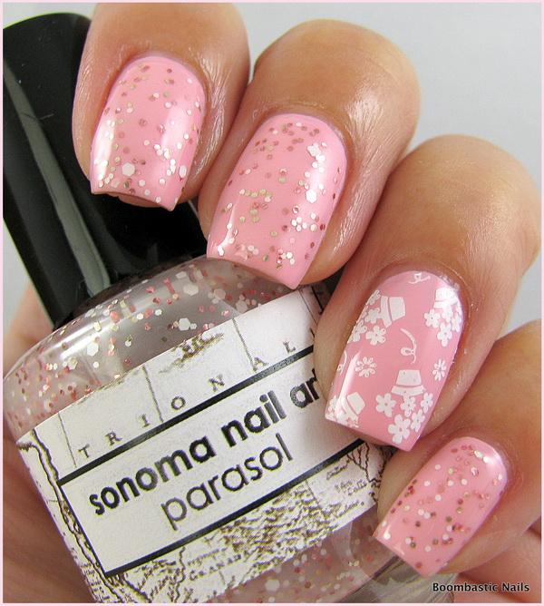 unghii Roz-cuarţ cu sclipici
