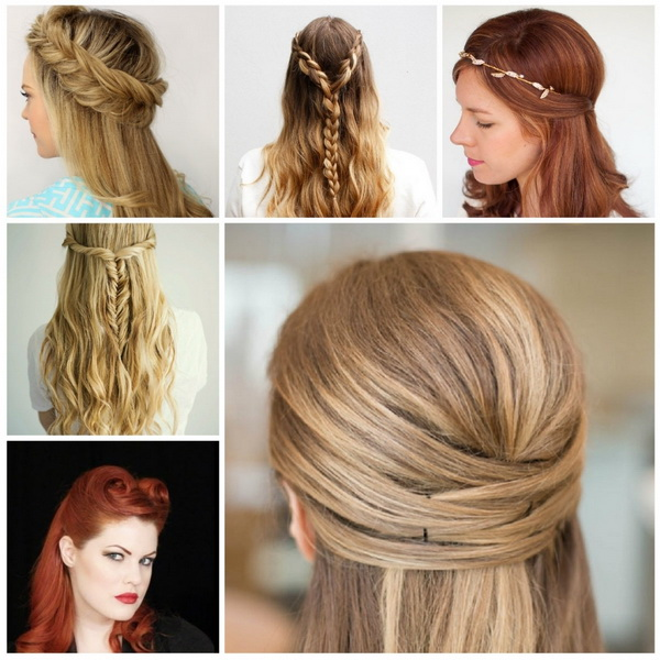 Half Updo Hairstyle For Medium Hair Pretty Half Up Half Down Hairstyles Hairstyles 2016 Best - Hairstyles Medium Hair