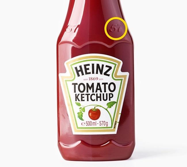 Numărul 57 gravat pe sticla de ketchup Heinz
