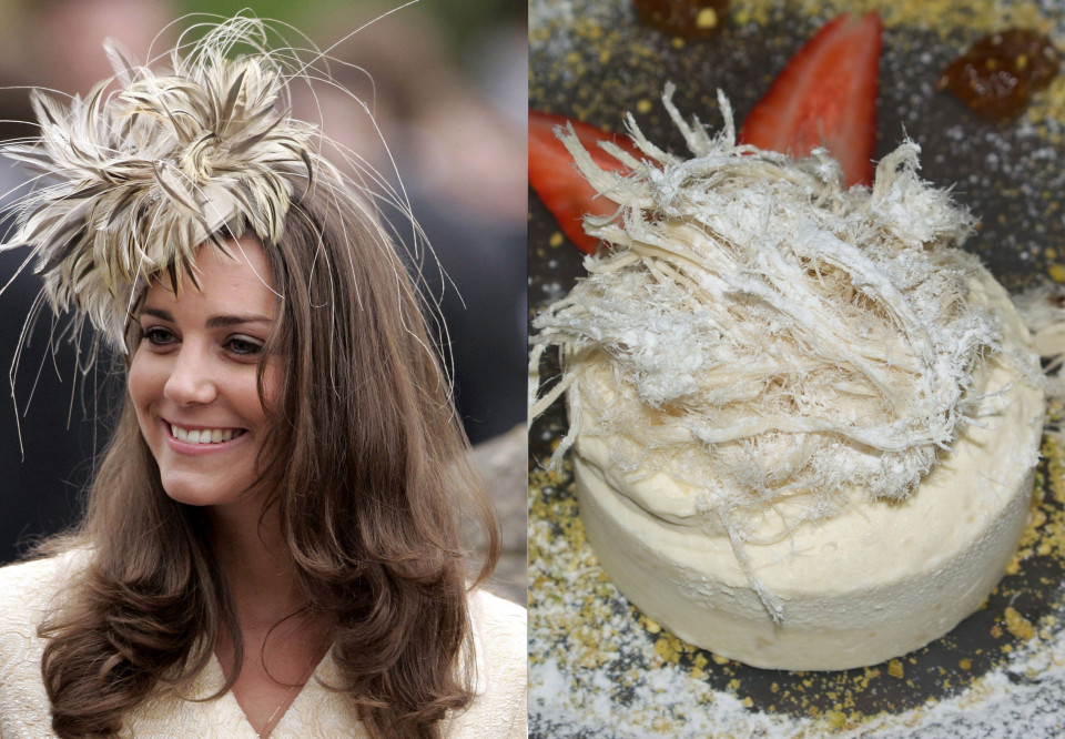 """Ducesa Kate în ipostaze """"delicioase"""" cu pălării ce imită diverse feluri de mâncare"""