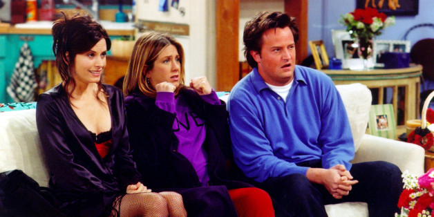 """UNDATED PHOTO: Actors Courteney Cox Arquette (L), Jennifer Aniston (C) and Matthew Perry are shown in a scene from the NBC series """"Friends"""". The series received 11 Emmy nominations, including outstanding comedy series, by the Academy of Television Arts and Sciences July 18, 2002 in Los Angeles, California. (Photo by Warner Bros. Television/Getty Images)"""
