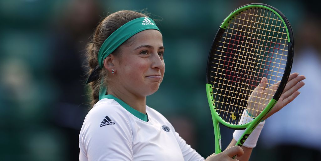 Latvia's Jelena Ostapenko celebrates winning her quarterfinal match of the French Open tennis tournament against Denmark's Caroline Wozniacki in three sets 4-6, 6-2, 6-2, at the Roland Garros stadium, in Paris, France. Tuesday, June 6, 2017. (AP Photo/Petr David Josek)