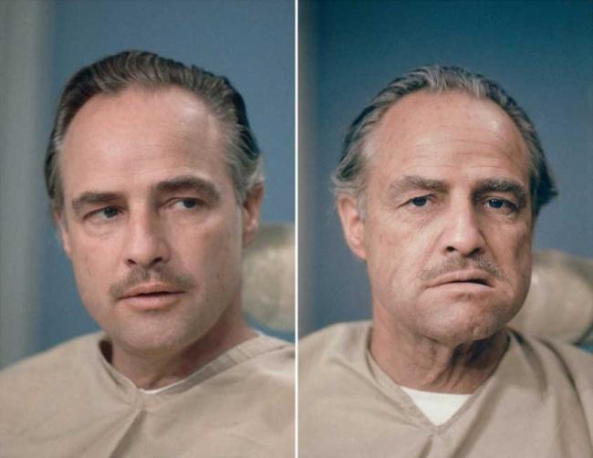 """Marlon Brando înainte de machiajul pentru filmul """"The Godfather"""""""