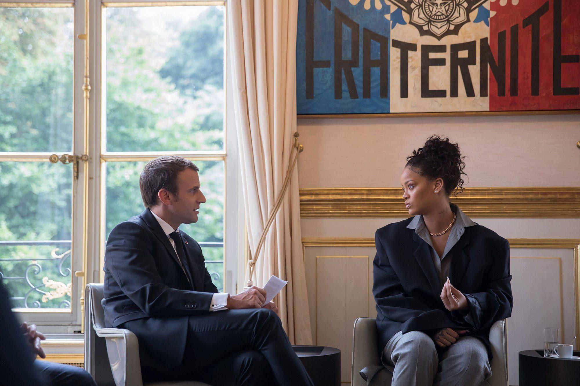 Rihanna and Emmanuel Macron https://twitter.com/EmmanuelMacron/status/890284967841992705 Source: Emmanuel Macron/Twitter