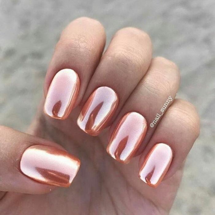 model de unghii rose gold