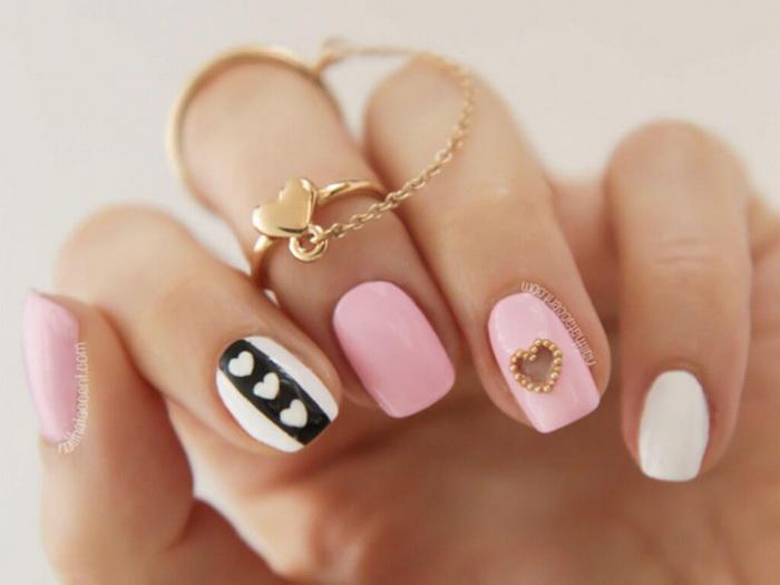 unghii cu inimioare pentru vara