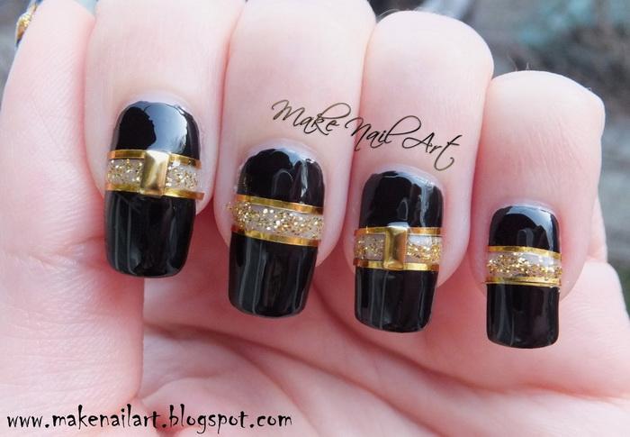 unghii-negre-elegante-cu-auriu