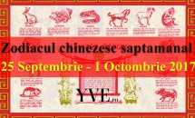 Zodiacul chinezesc săptămânal 25 Septembrie - 1 Octombrie 2017