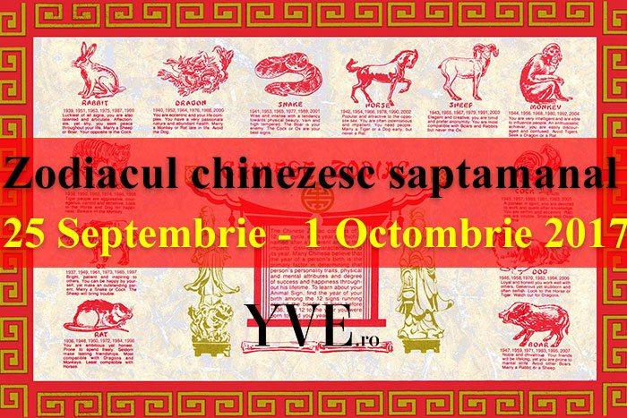 Zodiacul chinezesc saptamanal 25 Septembrie - 1 Octombrie 2017