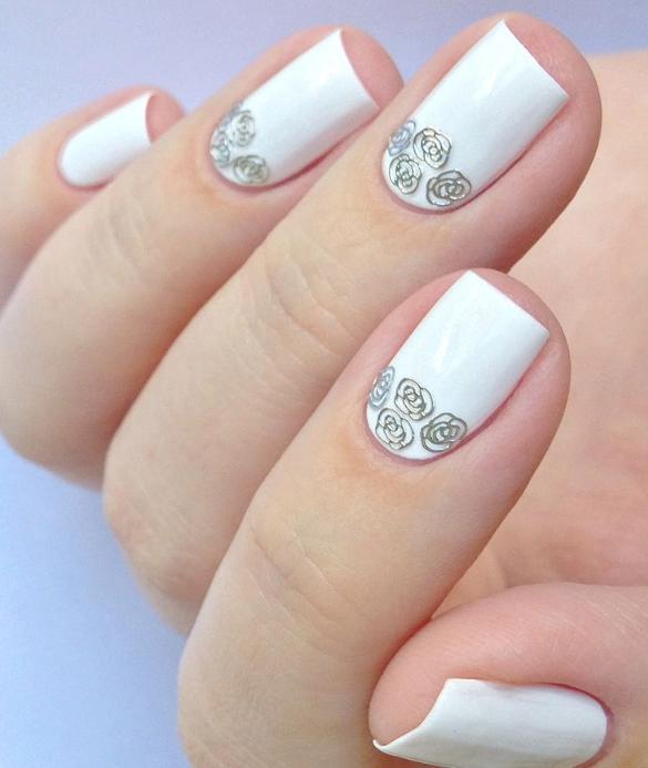 model de unghii albe pentru mirese